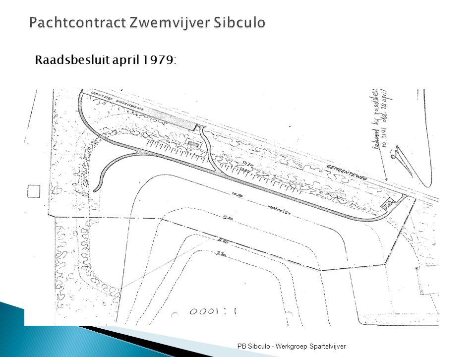 Raadsbesluit april 1979: PB Sibculo - Werkgroep Spartelvijver