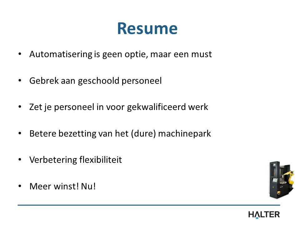 Resume Automatisering is geen optie, maar een must Gebrek aan geschoold personeel Zet je personeel in voor gekwalificeerd werk Betere bezetting van het (dure) machinepark Verbetering flexibiliteit Meer winst.