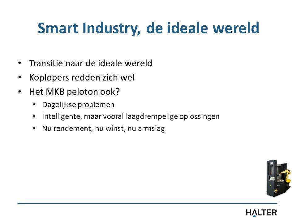 Smart Industry, de ideale wereld Transitie naar de ideale wereld Koplopers redden zich wel Het MKB peloton ook? Dagelijkse problemen Intelligente, maa