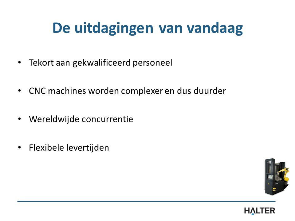 De uitdagingen van vandaag Tekort aan gekwalificeerd personeel CNC machines worden complexer en dus duurder Wereldwijde concurrentie Flexibele levertijden