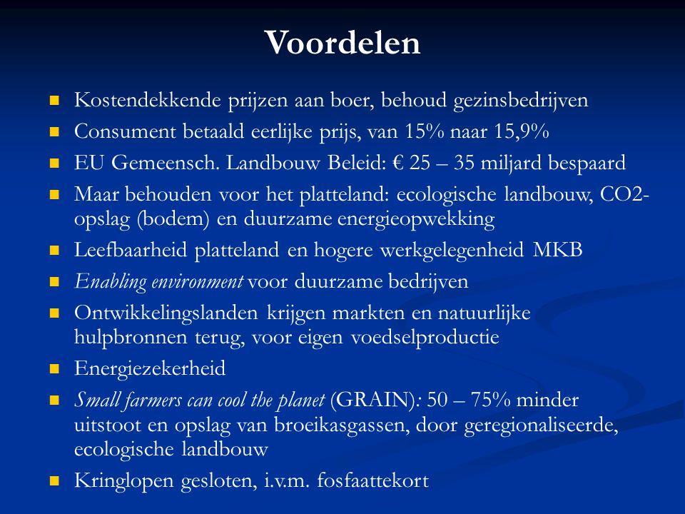 Voordelen Kostendekkende prijzen aan boer, behoud gezinsbedrijven Consument betaald eerlijke prijs, van 15% naar 15,9% EU Gemeensch. Landbouw Beleid:
