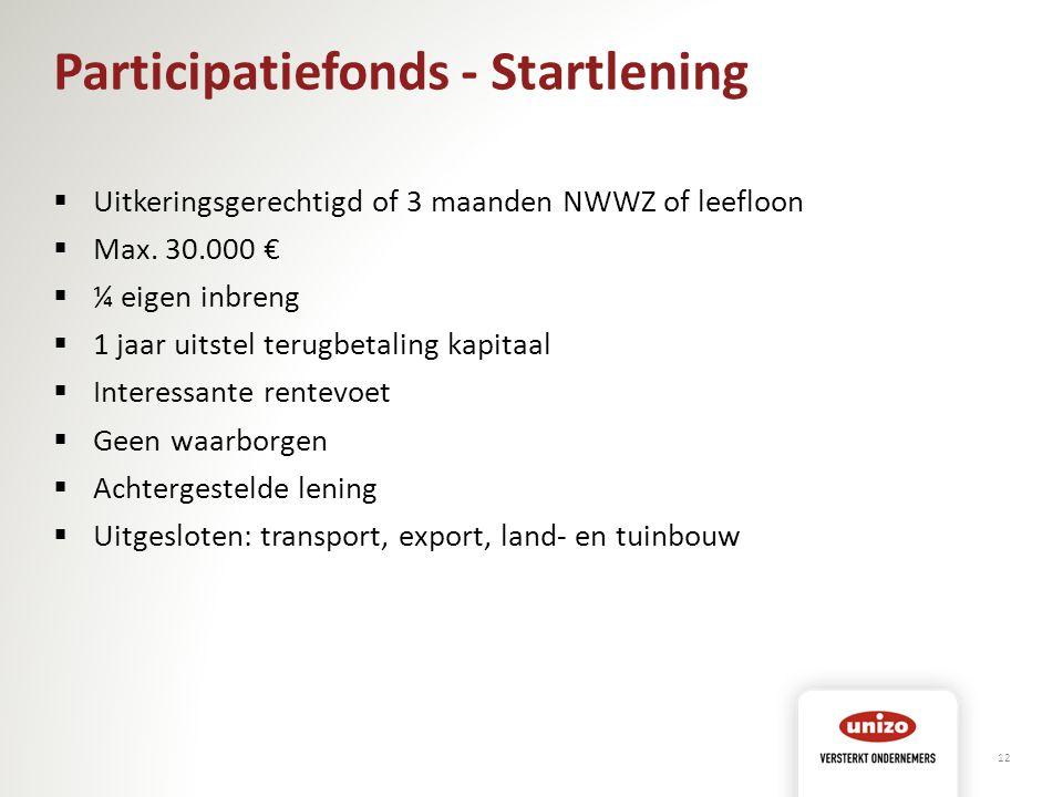 Participatiefonds - Startlening  Uitkeringsgerechtigd of 3 maanden NWWZ of leefloon  Max. 30.000 €  ¼ eigen inbreng  1 jaar uitstel terugbetaling
