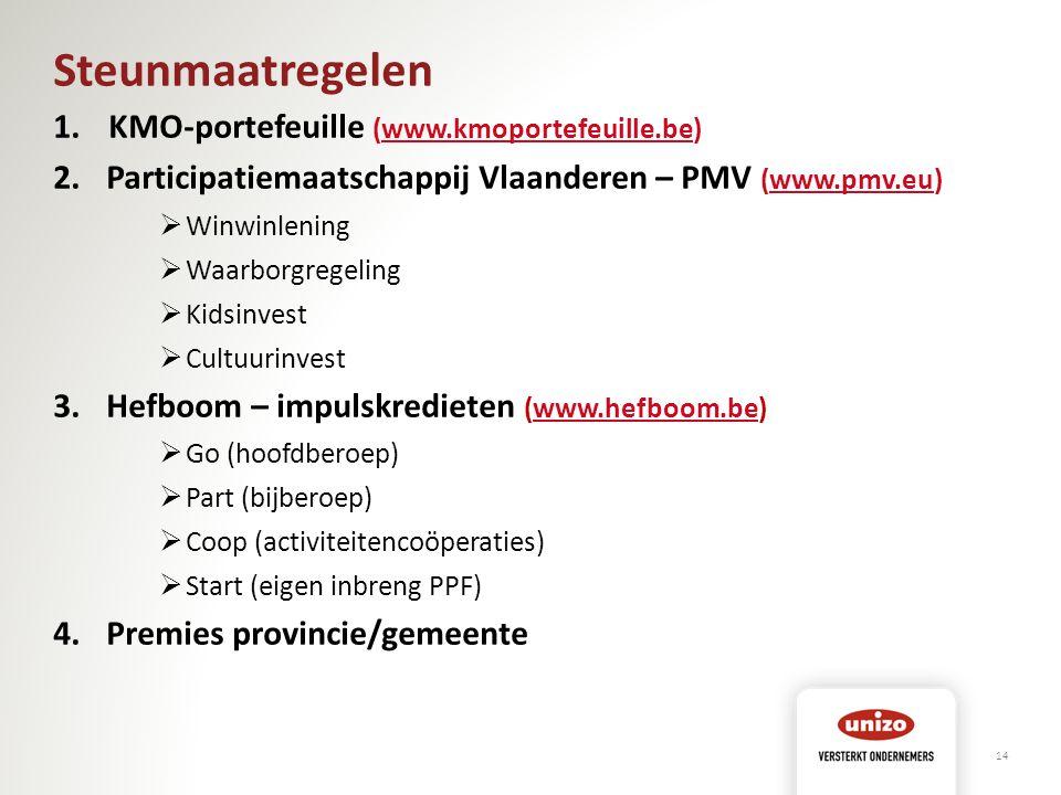 Steunmaatregelen 1. KMO-portefeuille (www.kmoportefeuille.be)www.kmoportefeuille.be 2.Participatiemaatschappij Vlaanderen – PMV (www.pmv.eu)www.pmv.eu
