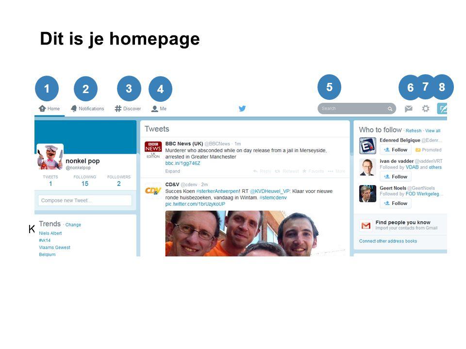 Dit is je homepage Klik op 'compose new tweet': je kunt meteen foto's en locatie toevoegen 1 2 3 4 5 7 8 6