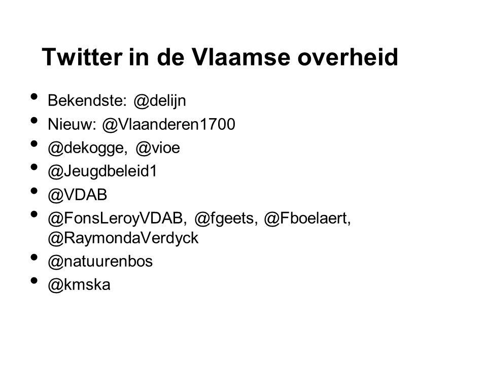 Twitter in de Vlaamse overheid Bekendste: @delijn Nieuw: @Vlaanderen1700 @dekogge, @vioe @Jeugdbeleid1 @VDAB @FonsLeroyVDAB, @fgeets, @Fboelaert, @RaymondaVerdyck @natuurenbos @kmska