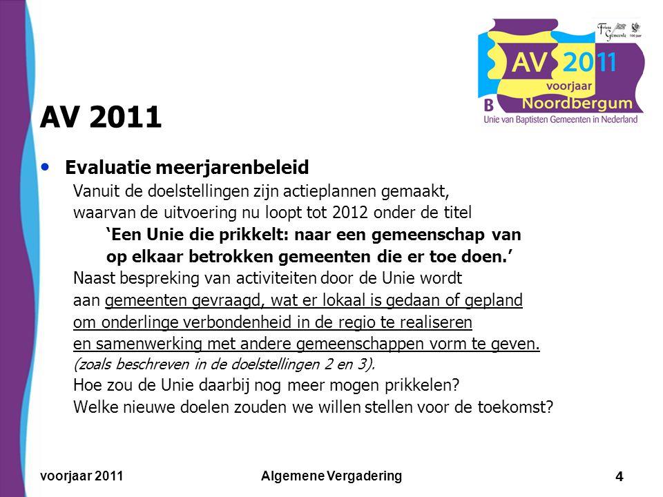 voorjaar 2011Algemene Vergadering5 AV 2011 Toelichting Unieraad – fondsenwerving Het werk laten doorgaan, maar de Unie-contributie acceptabel houden, ook bij minder groei en afnemende subsidies.