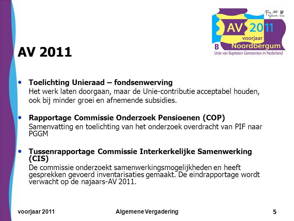 voorjaar 2011Algemene Vergadering6 AV 2011 Voorstel Unieraad – 'Algemene Vergaderingen' De huidige praktijk voortzetten, dus twee keer per jaar, bij voorkeur één dag.