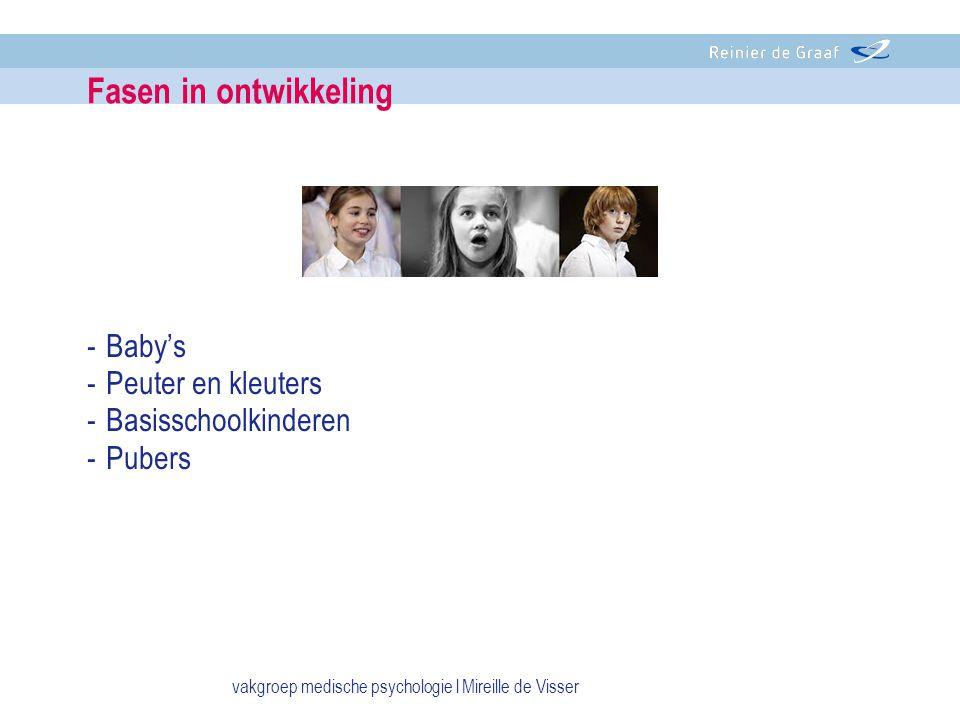 -Baby's -Peuter en kleuters -Basisschoolkinderen -Pubers Fasen in ontwikkeling vakgroep medische psychologie l Mireille de Visser