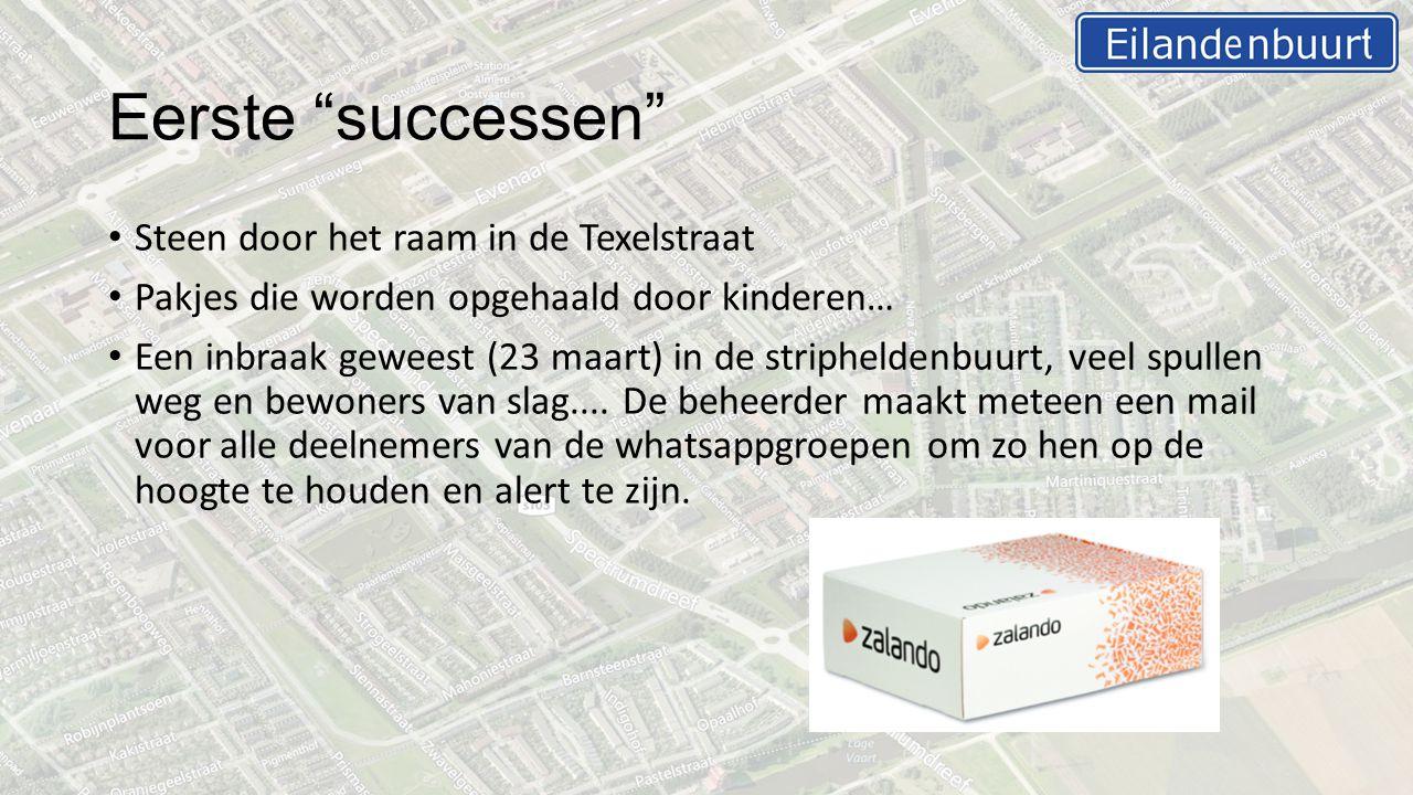 Eerste successen Steen door het raam in de Texelstraat Pakjes die worden opgehaald door kinderen… Een inbraak geweest (23 maart) in de stripheldenbuurt, veel spullen weg en bewoners van slag....