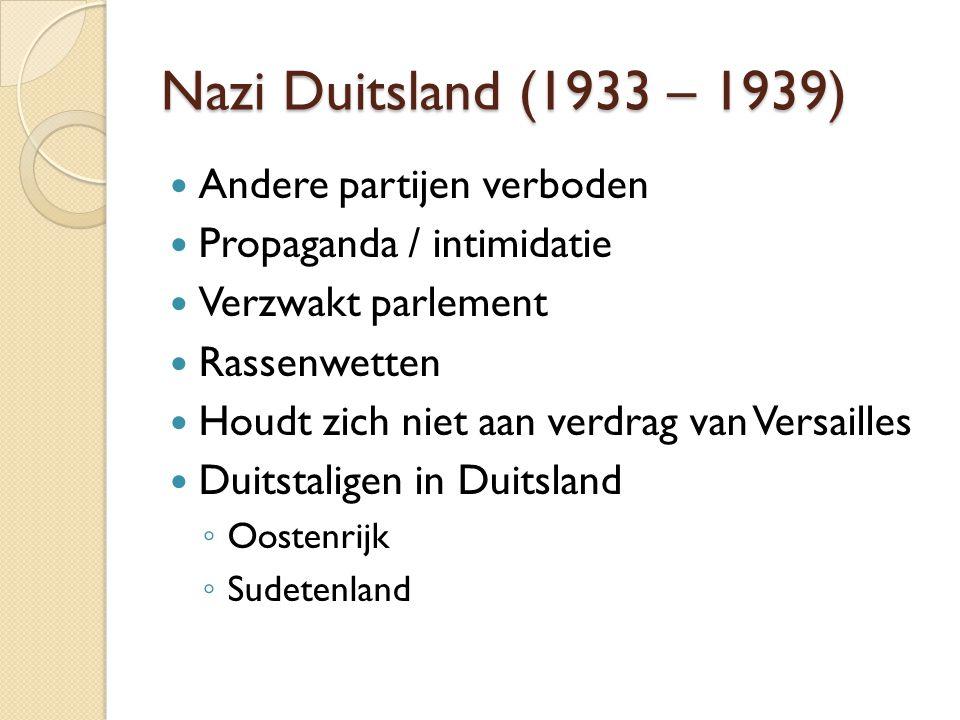 Nazi Duitsland (1933 – 1939) Andere partijen verboden Propaganda / intimidatie Verzwakt parlement Rassenwetten Houdt zich niet aan verdrag van Versail