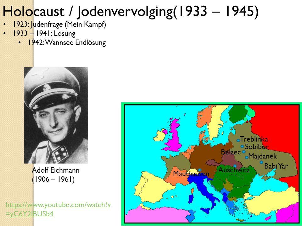 1923: Judenfrage (Mein Kampf) 1933 – 1941: Lösung 1942: Wannsee Endlösung Holocaust / Jodenvervolging(1933 – 1945) Babi Yar Auschwitz Mauthausen Trebl