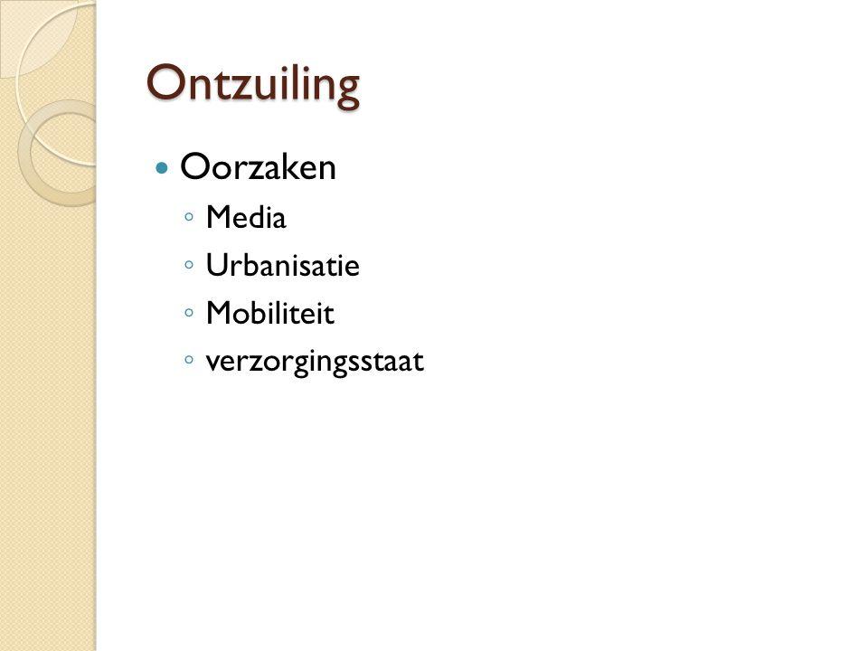 Ontzuiling Oorzaken ◦ Media ◦ Urbanisatie ◦ Mobiliteit ◦ verzorgingsstaat