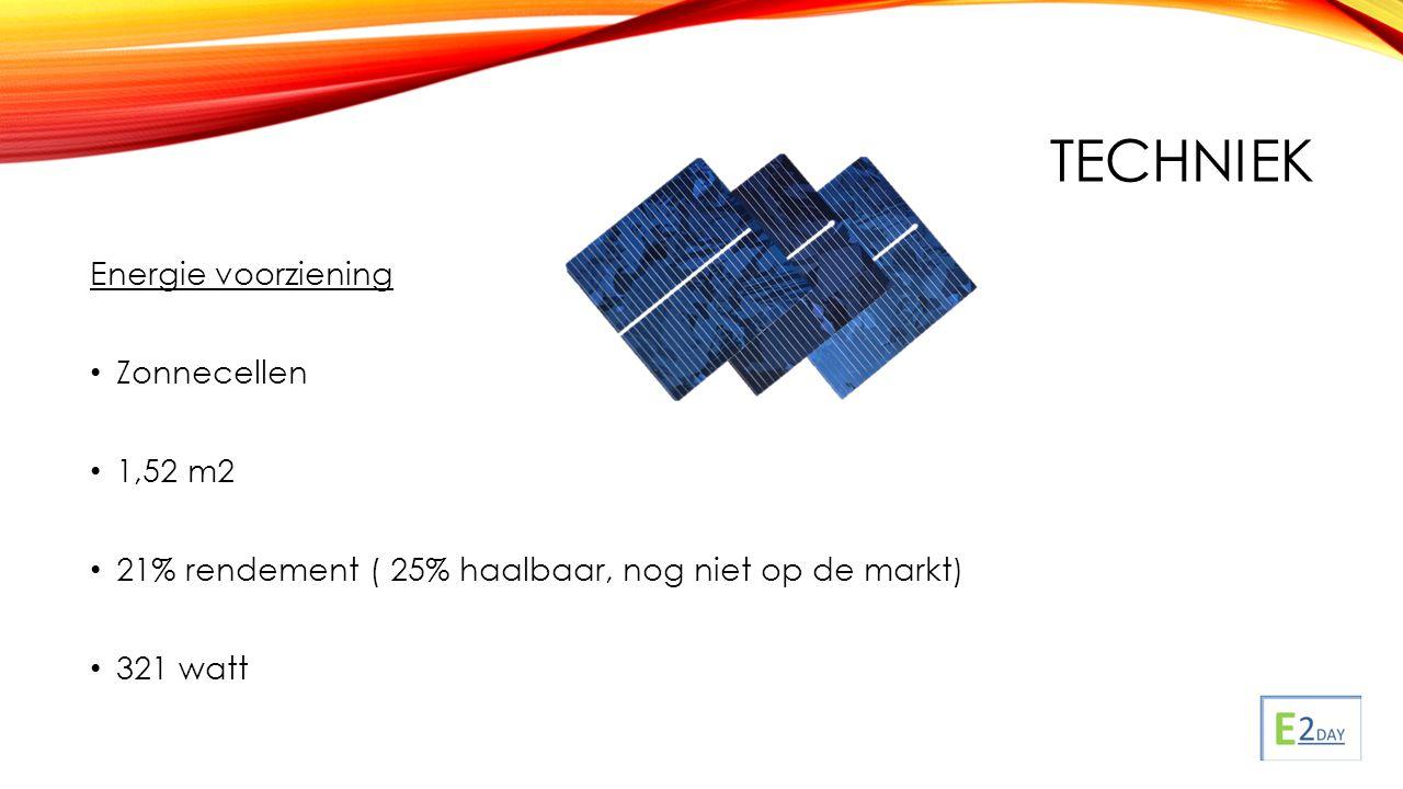 TECHNIEK Energie voorziening Zonnecellen 1,52 m2 21% rendement ( 25% haalbaar, nog niet op de markt) 321 watt
