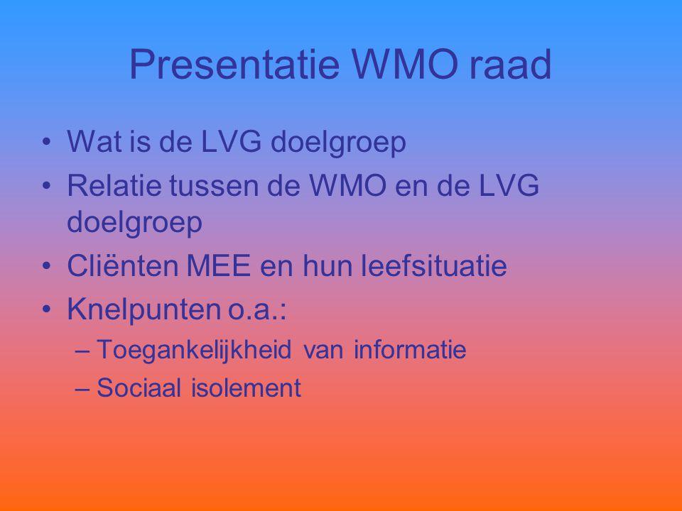 Presentatie WMO raad Wat is de LVG doelgroep Relatie tussen de WMO en de LVG doelgroep Cliënten MEE en hun leefsituatie Knelpunten o.a.: –Toegankelijkheid van informatie –Sociaal isolement