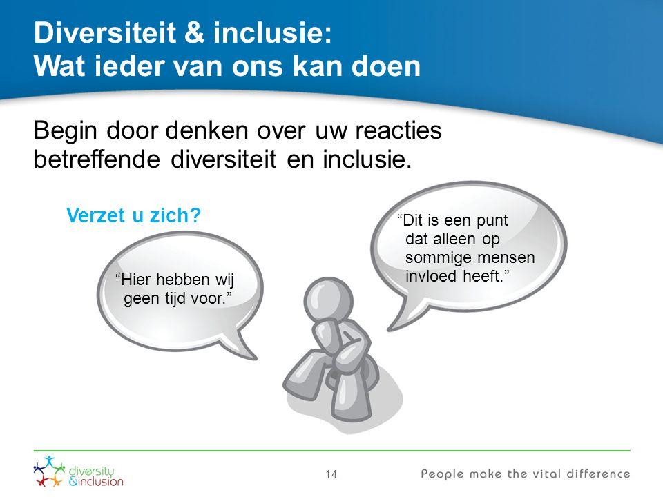 """14 Diversiteit & inclusie: Wat ieder van ons kan doen Begin door denken over uw reacties betreffende diversiteit en inclusie. Verzet u zich? """"Hier heb"""