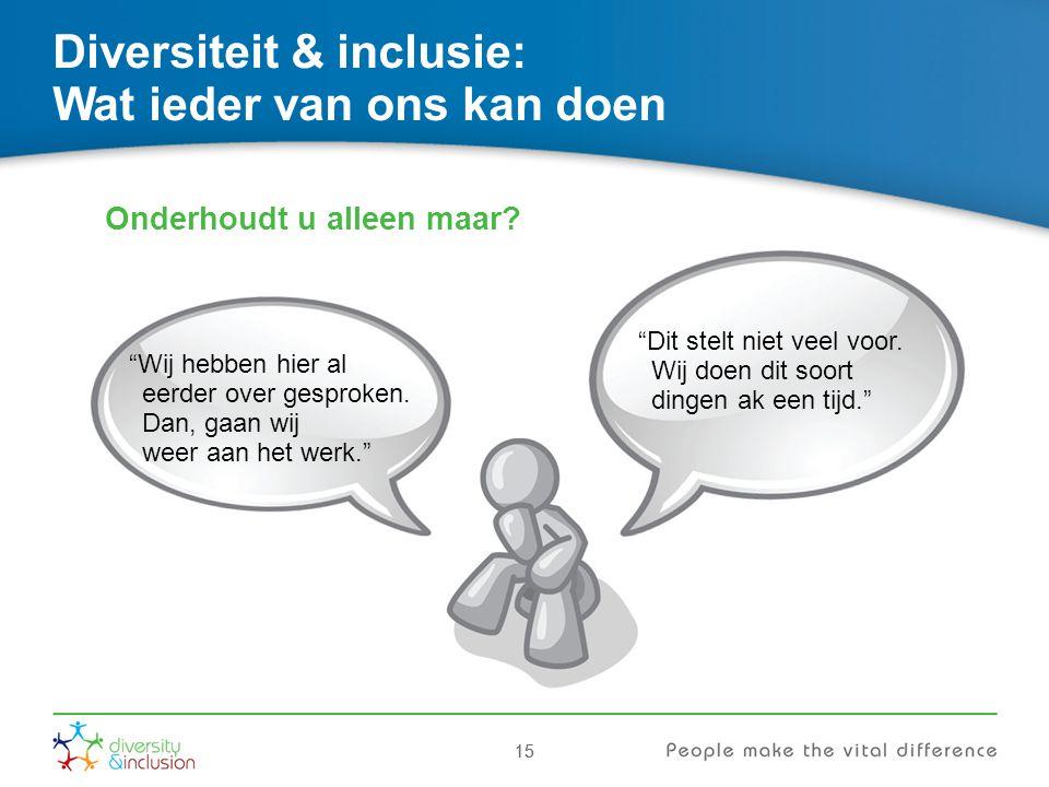 """15 Diversiteit & inclusie: Wat ieder van ons kan doen Onderhoudt u alleen maar? """"Wij hebben hier al eerder over gesproken. Dan, gaan wij weer aan het"""