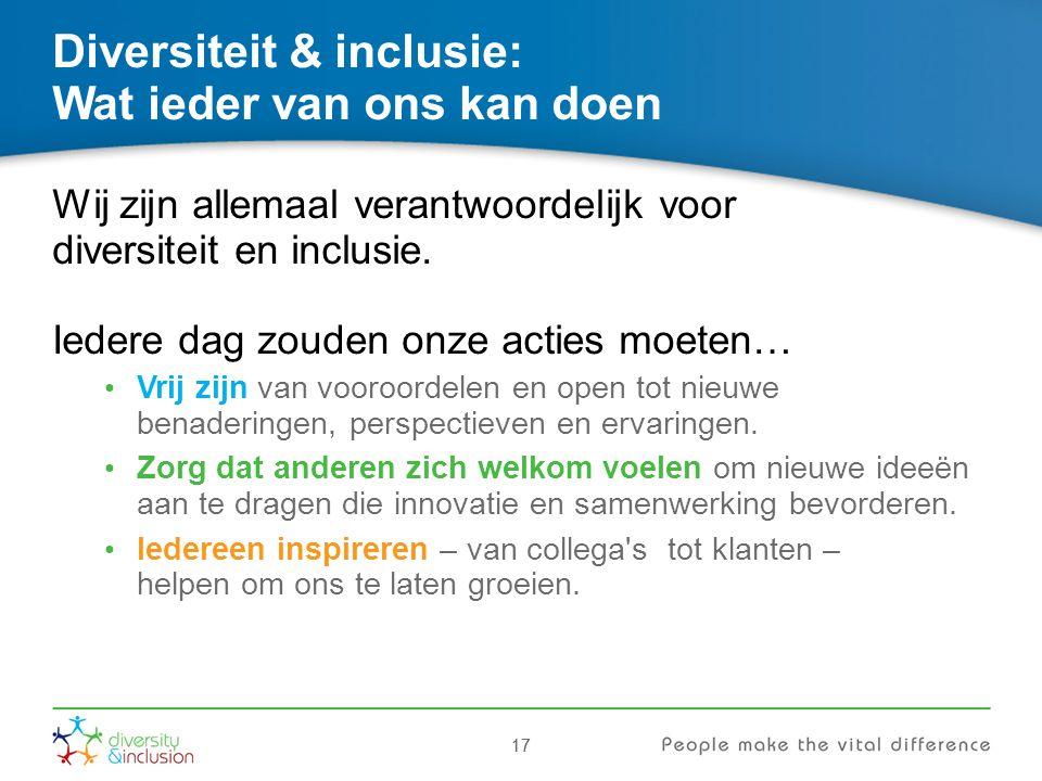 17 Diversiteit & inclusie: Wat ieder van ons kan doen Wij zijn allemaal verantwoordelijk voor diversiteit en inclusie. Iedere dag zouden onze acties m