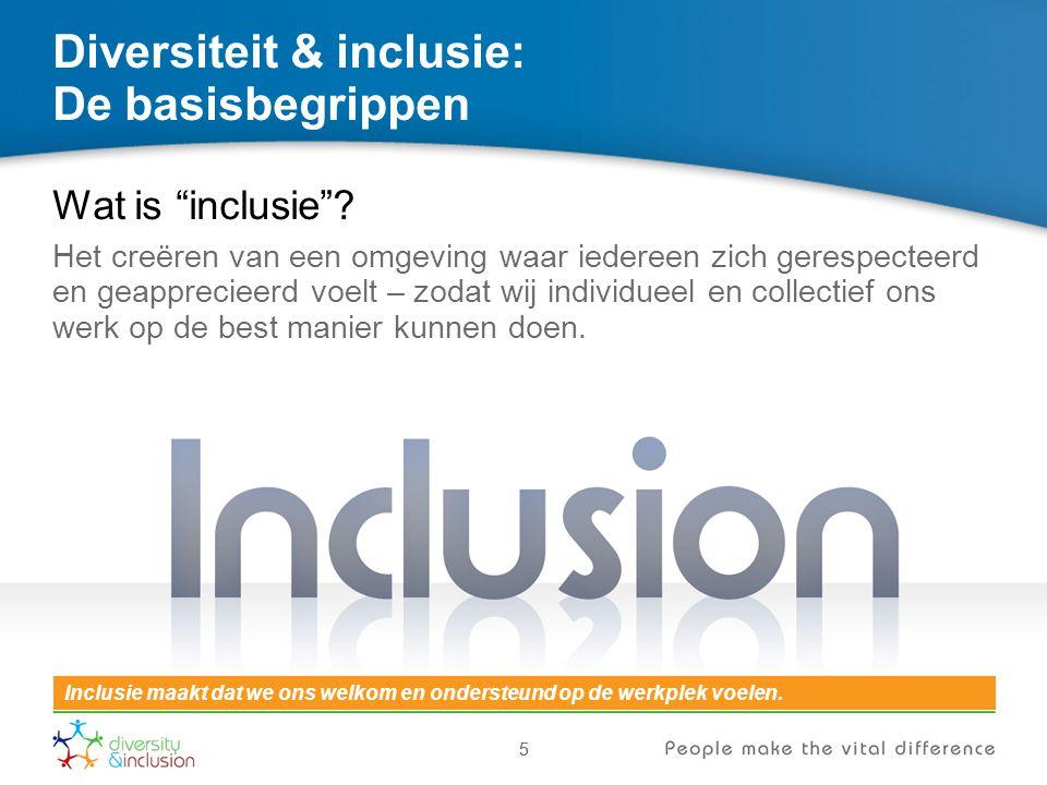 """55 Diversiteit & inclusie: De basisbegrippen Wat is """"inclusie""""? Het creëren van een omgeving waar iedereen zich gerespecteerd en geapprecieerd voelt –"""