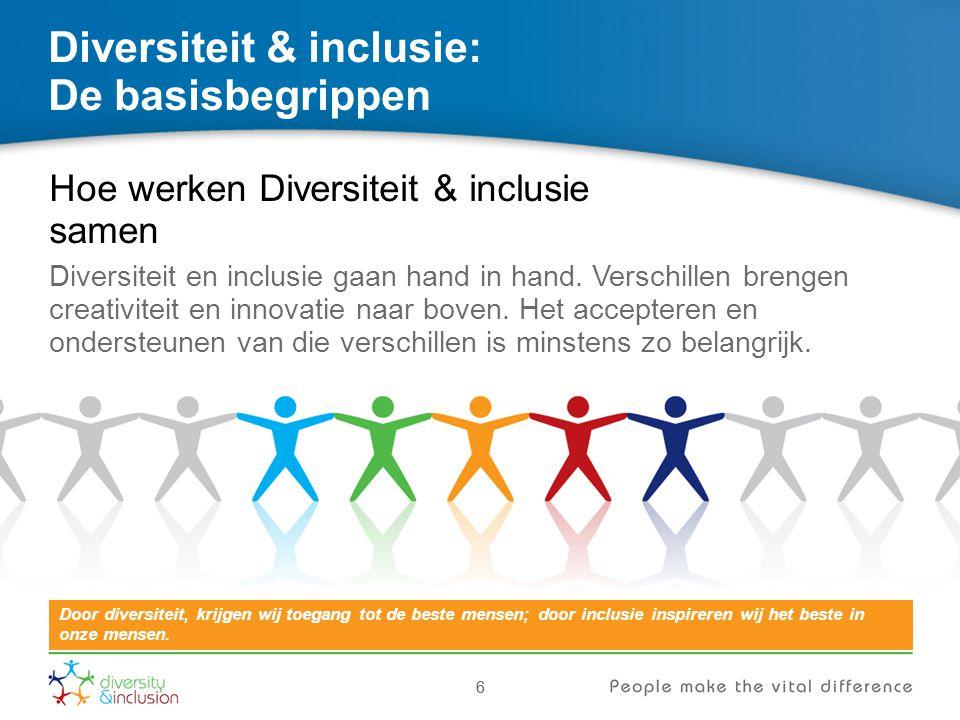 66 Diversiteit & inclusie: De basisbegrippen Hoe werken Diversiteit & inclusie samen Diversiteit en inclusie gaan hand in hand. Verschillen brengen cr