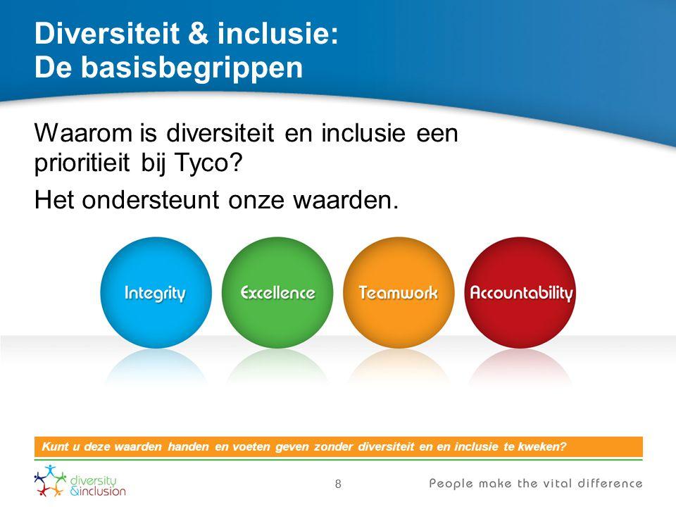 8 Diversiteit & inclusie: De basisbegrippen Waarom is diversiteit en inclusie een prioritieit bij Tyco? Het ondersteunt onze waarden. 8 Kunt u deze wa