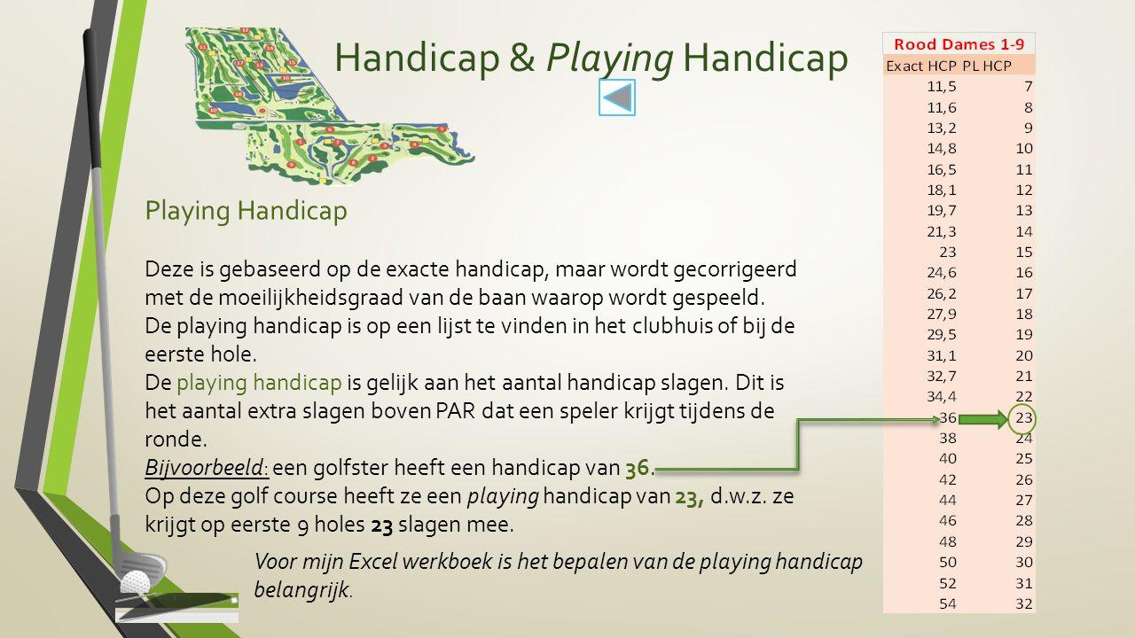 Handicap & Playing Handicap Playing Handicap Deze is gebaseerd op de exacte handicap, maar wordt gecorrigeerd met de moeilijkheidsgraad van de baan wa