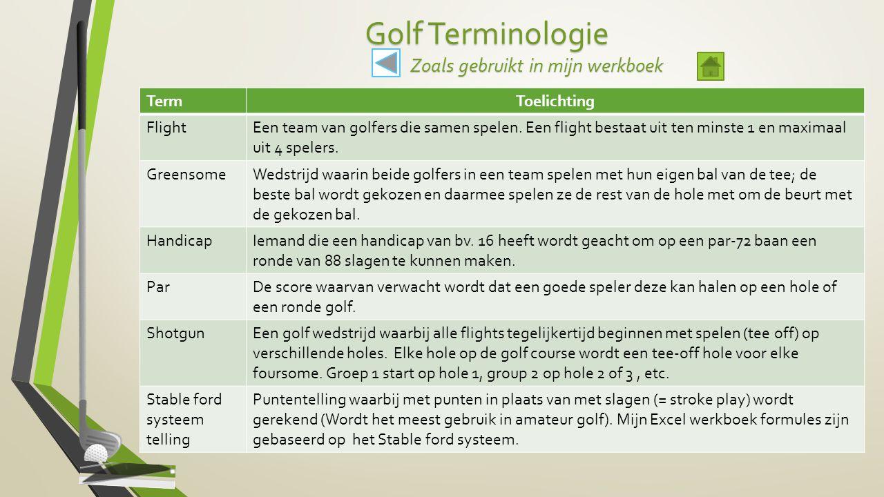Golf Terminologie Zoals gebruikt in mijn werkboek TermToelichting FlightEen team van golfers die samen spelen. Een flight bestaat uit ten minste 1 en