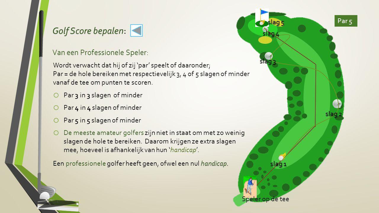 Golf Score bepalen Golf Score bepalen: Van een Professionele Speler: Wordt verwacht dat hij of zij 'par' speelt of daaronder; Par = de hole bereiken m