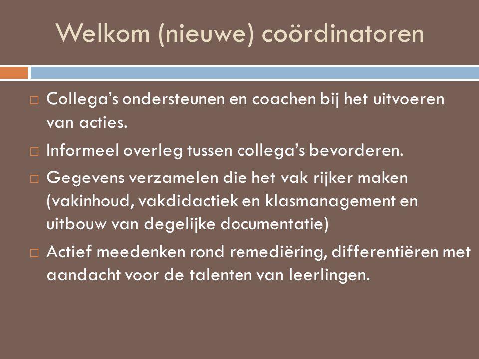 Welkom (nieuwe) coördinatoren  Collega's ondersteunen en coachen bij het uitvoeren van acties.