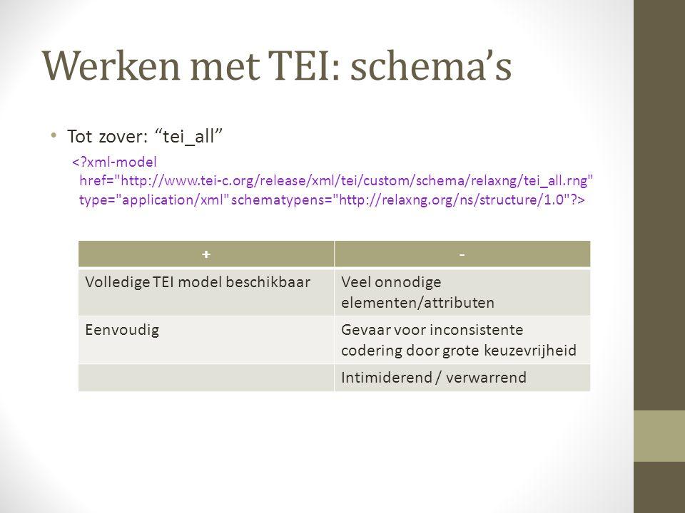 Werken met TEI: schema's Tot zover: tei_all +- Volledige TEI model beschikbaarVeel onnodige elementen/attributen EenvoudigGevaar voor inconsistente codering door grote keuzevrijheid Intimiderend / verwarrend