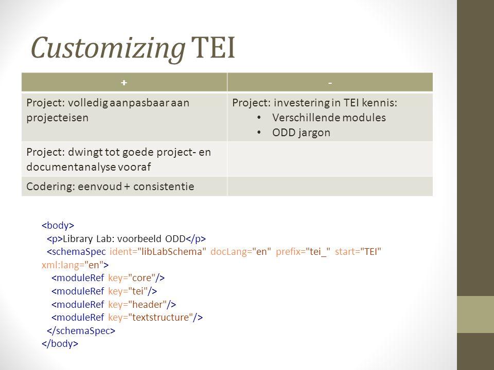 Customizing TEI +- Project: volledig aanpasbaar aan projecteisen Project: investering in TEI kennis: Verschillende modules ODD jargon Project: dwingt