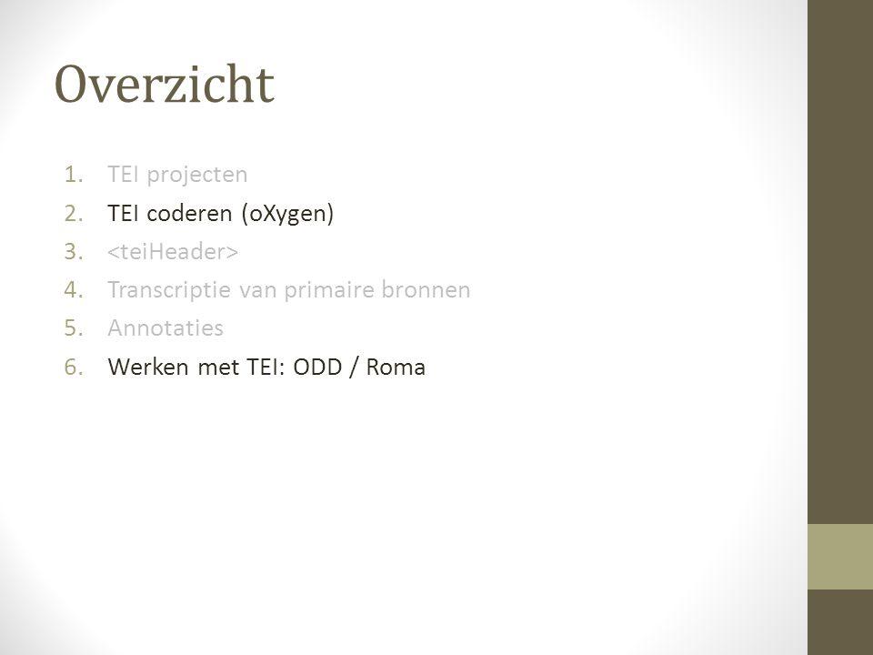 Overzicht 1.TEI projecten 2.TEI coderen (oXygen) 3.