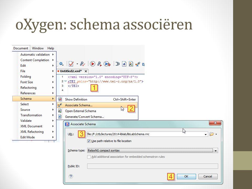 oXygen: schema associëren
