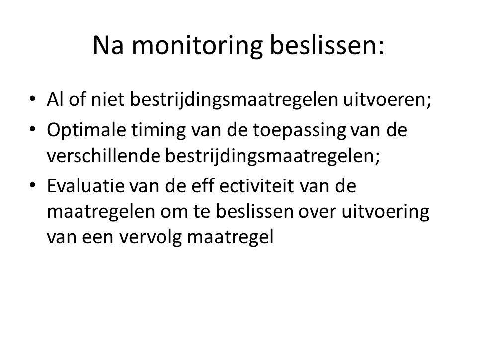 Na monitoring beslissen: Al of niet bestrijdingsmaatregelen uitvoeren; Optimale timing van de toepassing van de verschillende bestrijdingsmaatregelen; Evaluatie van de eff ectiviteit van de maatregelen om te beslissen over uitvoering van een vervolg maatregel