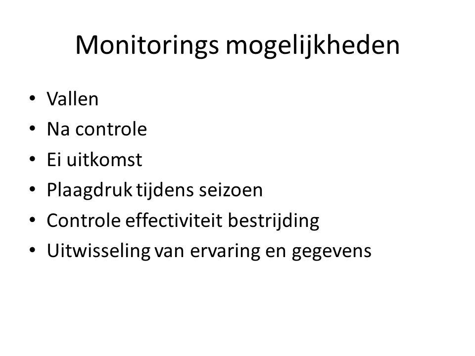 Monitorings mogelijkheden Vallen Na controle Ei uitkomst Plaagdruk tijdens seizoen Controle effectiviteit bestrijding Uitwisseling van ervaring en gegevens