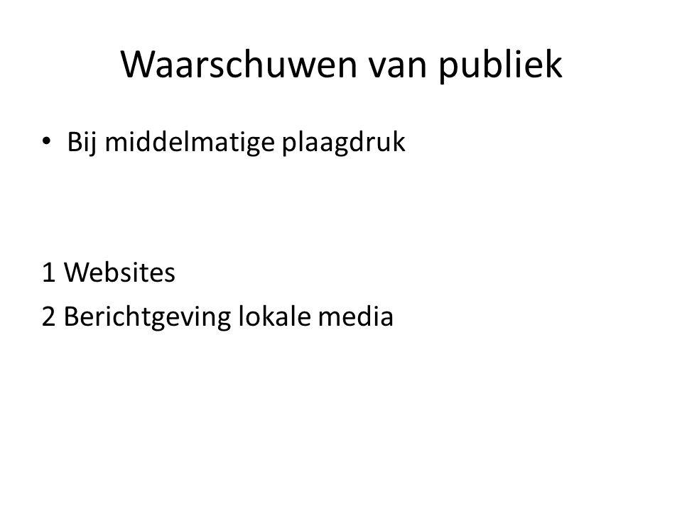 Waarschuwen van publiek Bij middelmatige plaagdruk 1 Websites 2 Berichtgeving lokale media