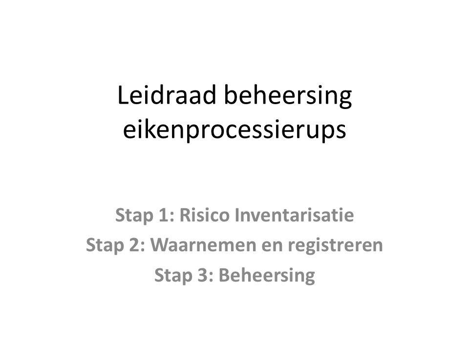 Leidraad beheersing eikenprocessierups Stap 1: Risico Inventarisatie Stap 2: Waarnemen en registreren Stap 3: Beheersing