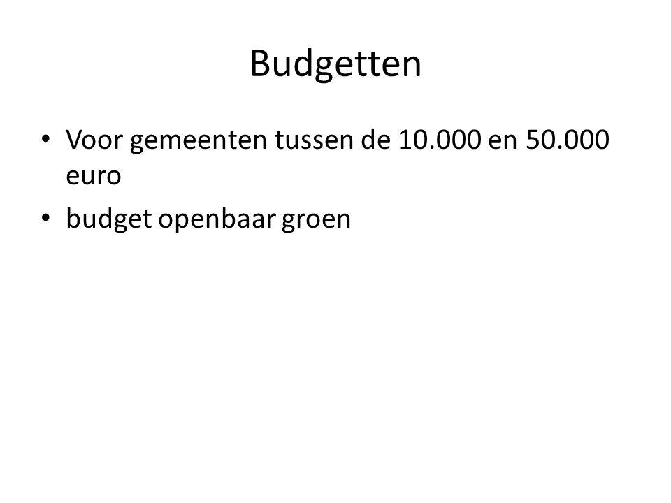 Budgetten Voor gemeenten tussen de 10.000 en 50.000 euro budget openbaar groen