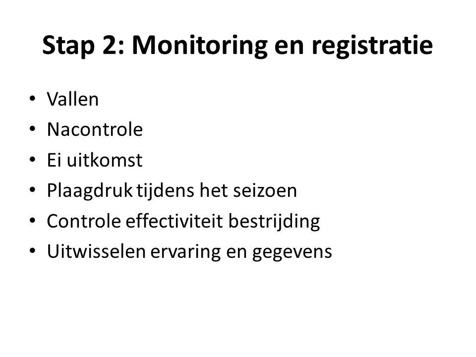 Stap 2: Monitoring en registratie Vallen Nacontrole Ei uitkomst Plaagdruk tijdens het seizoen Controle effectiviteit bestrijding Uitwisselen ervaring en gegevens