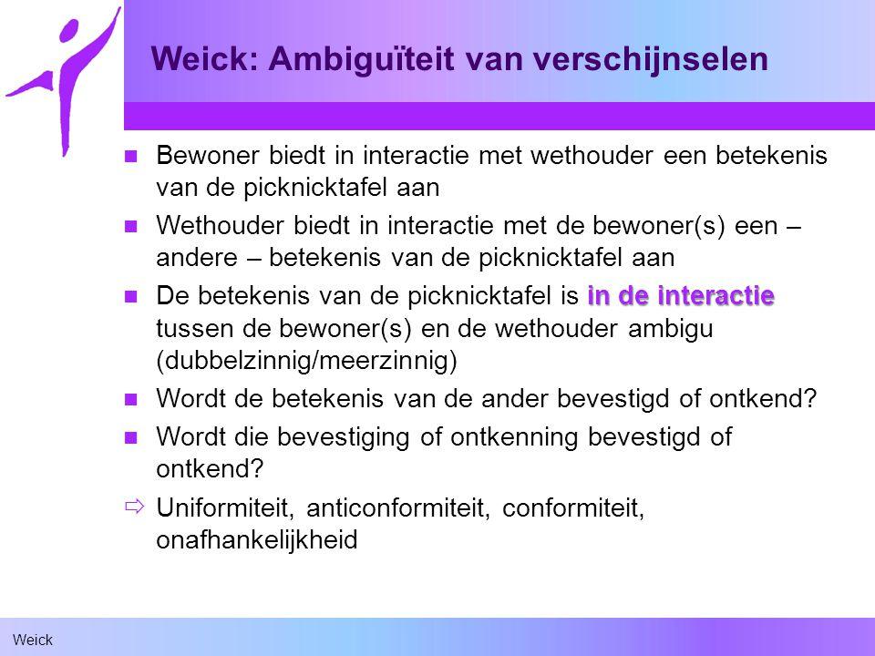 Weick Weick: Ambiguïteit van verschijnselen Bewoner biedt in interactie met wethouder een betekenis van de picknicktafel aan Wethouder biedt in intera