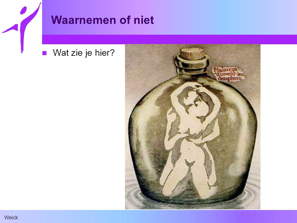 Weick Waarnemen of niet prior memory Research has shown that young children cannot identify the intimate couple because they do not have prior memory associated with such scenario… dolphins What they will see are the nine dolphins. Additional note: This is a test to determine if you already have a corrupted mind.