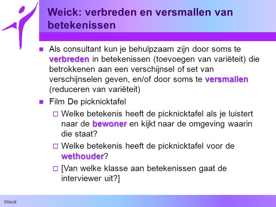 Weick Weick: verbreden en versmallen van betekenissen verbreden versmallen Als consultant kun je behulpzaam zijn door soms te verbreden in betekenisse