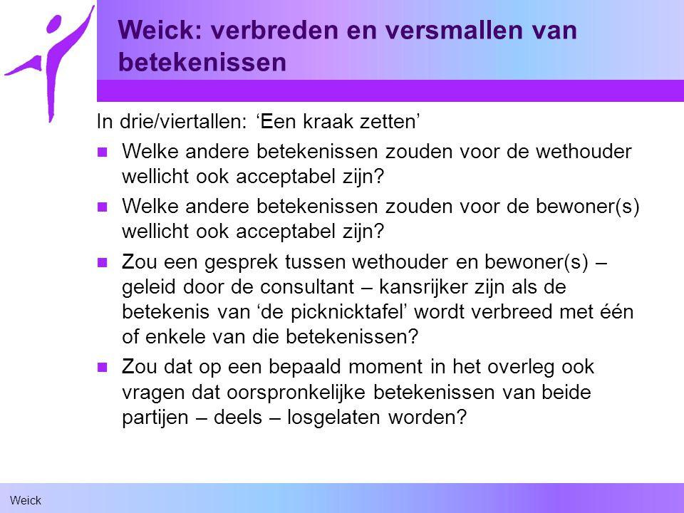Weick Weick: verbreden en versmallen van betekenissen In drie/viertallen: 'Een kraak zetten' Welke andere betekenissen zouden voor de wethouder wellicht ook acceptabel zijn.