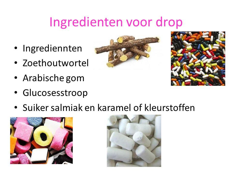 Ingredienten voor drop Ingrediennten Zoethoutwortel Arabische gom Glucosesstroop Suiker salmiak en karamel of kleurstoffen