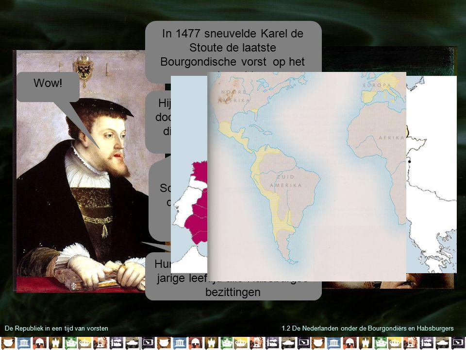 De Republiek in een tijd van vorsten1.2 De Nederlanden onder de Bourgondiërs en Habsburgers In 1477 sneuvelde Karel de Stoute de laatste Bourgondische