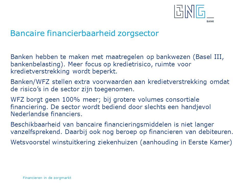 Bancaire financierbaarheid zorgsector Banken hebben te maken met maatregelen op bankwezen (Basel III, bankenbelasting).