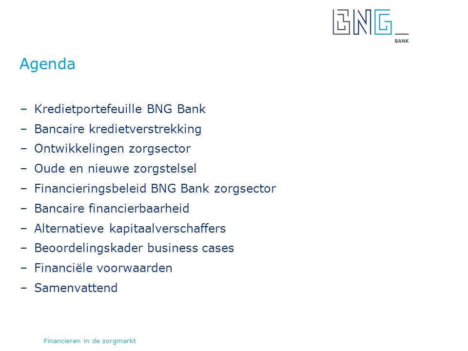 –Kredietportefeuille BNG Bank –Bancaire kredietverstrekking –Ontwikkelingen zorgsector –Oude en nieuwe zorgstelsel –Financieringsbeleid BNG Bank zorgsector –Bancaire financierbaarheid –Alternatieve kapitaalverschaffers –Beoordelingskader business cases –Financiële voorwaarden –Samenvattend Agenda Financieren in de zorgmarkt