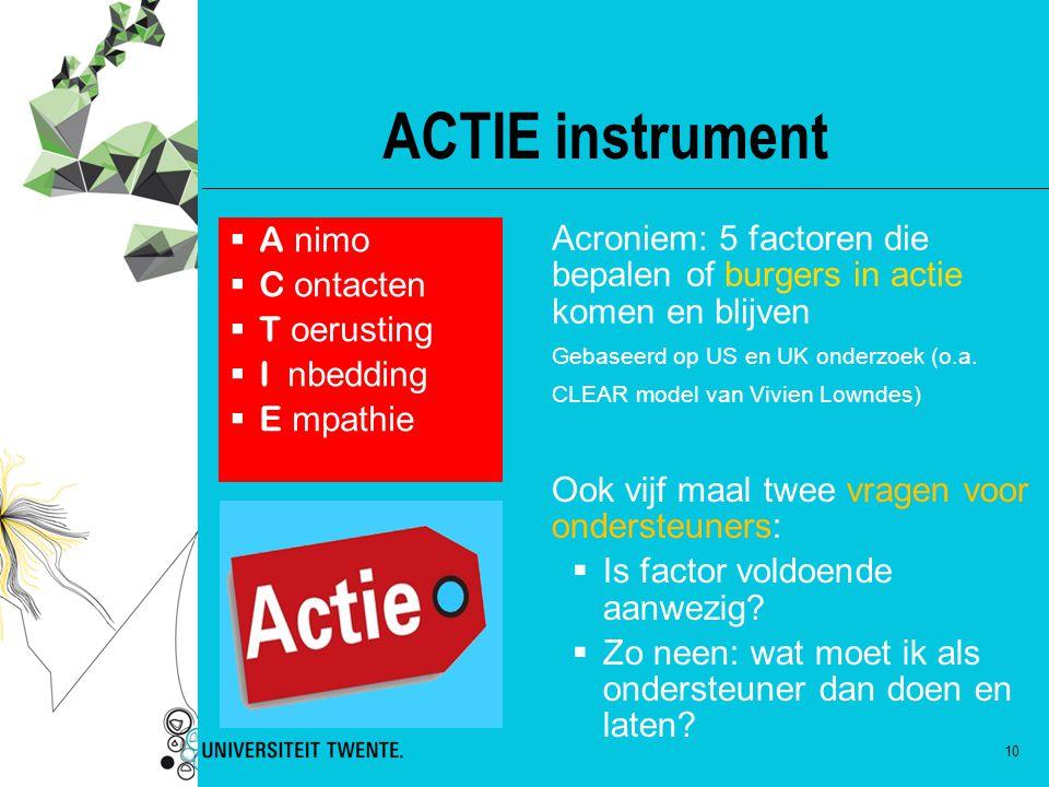 10 ACTIE instrument Acroniem: 5 factoren die bepalen of burgers in actie komen en blijven Gebaseerd op US en UK onderzoek (o.a. CLEAR model van Vivien