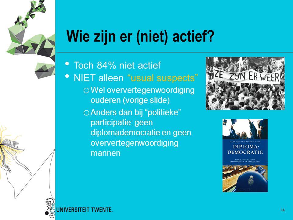 """Wie zijn er (niet) actief? 14 Toch 84% niet actief NIET alleen """"usual suspects"""" o Wel oververtegenwoordiging ouderen (vorige slide) o Anders dan bij """""""