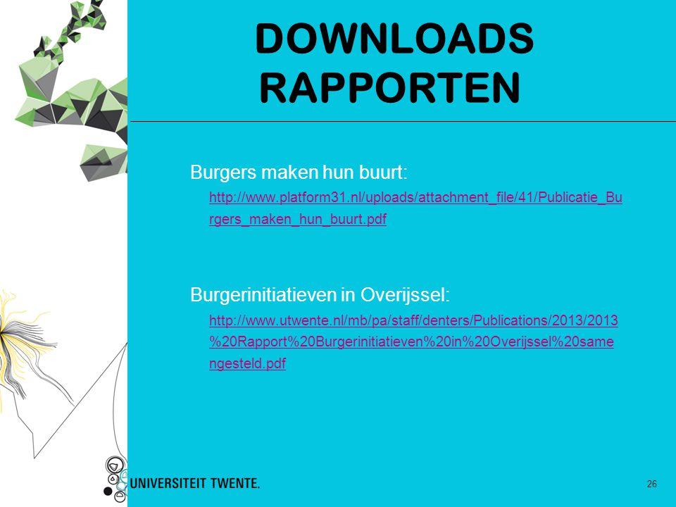 26 DOWNLOADS RAPPORTEN Burgers maken hun buurt: http://www.platform31.nl/uploads/attachment_file/41/Publicatie_Bu rgers_maken_hun_buurt.pdf Burgerinit