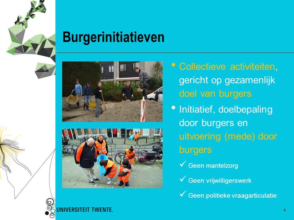 4 Burgerinitiatieven Collectieve activiteiten, gericht op gezamenlijk doel van burgers Initiatief, doelbepaling door burgers en uitvoering (mede) door